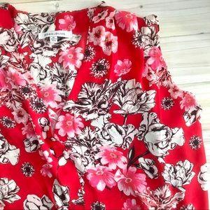 XL Rose & Olive Red Floral V Neck Career Blouse